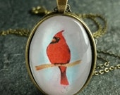 Cardinal Pendant Necklace With Flaws - Bronze Pendant - Watercolor Bird Necklace - Oval Pendant - Bird Pendant Necklace #OC3