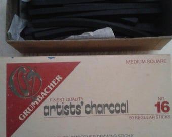 20 pcs Vintage Grumbacher Artist Stick Charcoal w/bonus pencils