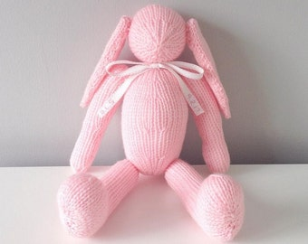 hand knitted bunny rabbit with pompom tail
