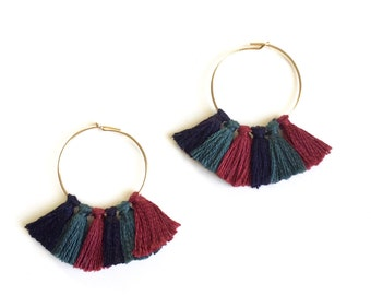 EARRINGS SIDONIE - by gold filled 14 carats with PomPoms Navy Blue, peacock blue and Burgundy