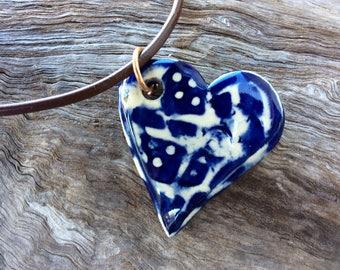 Cobalt blue handmade ceramic heart pendant
