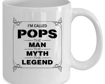 Pops white coffee mug. Funny Pops gift