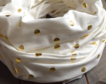 Nursing Scarf Gold Polka Dot Off-White, Gold Breastfeeding Cover Up, Beige Infinity Scarf, Tan Scarf, Polka Dot Scarf, Knit, Gold Dot