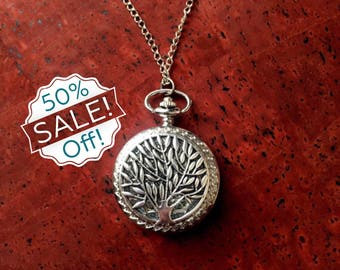 SALE! 50% off! Tree of Life Pocket Watch Diffuser Necklace