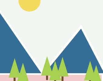"Wall Art Print, ""Summer Hike"", Mountain Art, Plant Art, Foliage Print, Modern Wall Art, Pastel Print"