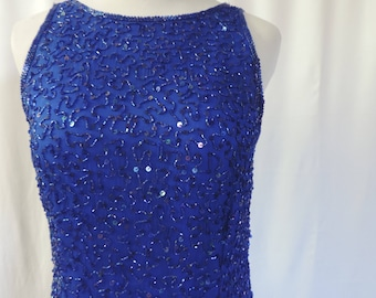 Women's Vintage 1990's Sleeveless Cobalt Blue Silk Sequin Fitted Evening Gown, Glamourous, Size Small Medium