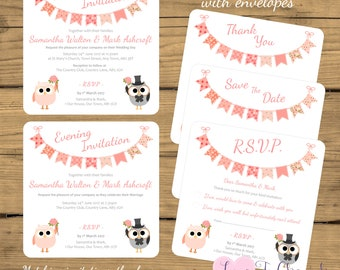 PRINTED Personalised Wedding Invites, Save The Date, RSVP & Thank You Cards with Envelopes - Cute Peach Owls - Evening/Reception Invitations