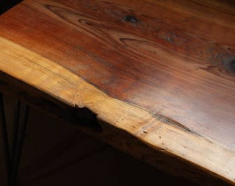 Reclaimed Coffee Table Created with Timber from the Great Storm of 1987 on Bare Steel Hairpin legs