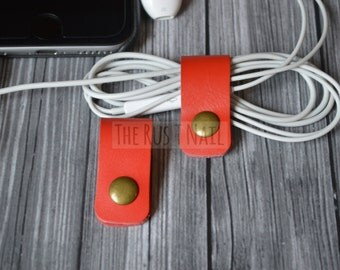 FREE SHIPPING - Set of Two Red Cord Organizers - Cord Keepers