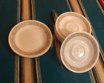 Vintage Corelle Woodland Saucers -Brown and White Corelle