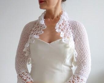 Crochet white bolero, bridal bolero, white lacy shrug, wedding bolero, knit bolero, gift for her, express shipping