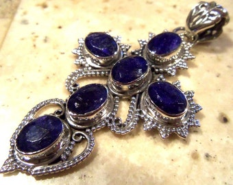 Large NATURAL Blue Sapphire Cross Pendant Intuition Deep Meditation Protection Prosperity Magick Ornate Sterling Silver Handcrafted Jewelry