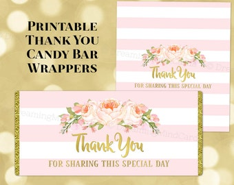 Printable Candy Bar Wrapper Labels Thank You Peach Pink Watercolor Flowers Blush Stripes Gold Birthday Wedding Baby Shower Digital