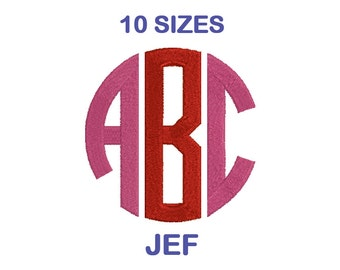 Circle Monogram Embroidery Font Set - 10 Size - JEF Format Embroidery Alphabet - Embroidery Letters - Machine Embroidery Designs Patterns