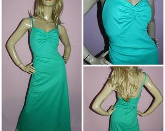 Vintage 70s Bright APPLE Green Maxi GODDESS Evening dress 10 S 1970s Glamour Starlet Disco