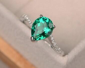 Emerald ring silver, pear cut engagement rings, green gemstone ring, May birthstone