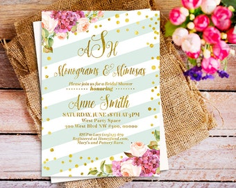 Mimosas and Monograms wedding Shower Invitation, Gold Mimosas and Monograms Bridal Shower Invitation, Monograms and Mimosas Printable