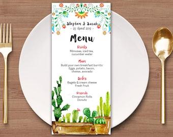 Wedding Menu Template, Mexican Fiesta Menu Template, Printable Wedding Menu Card, Succulent Menu Template, DIY Printable Wedding Menu
