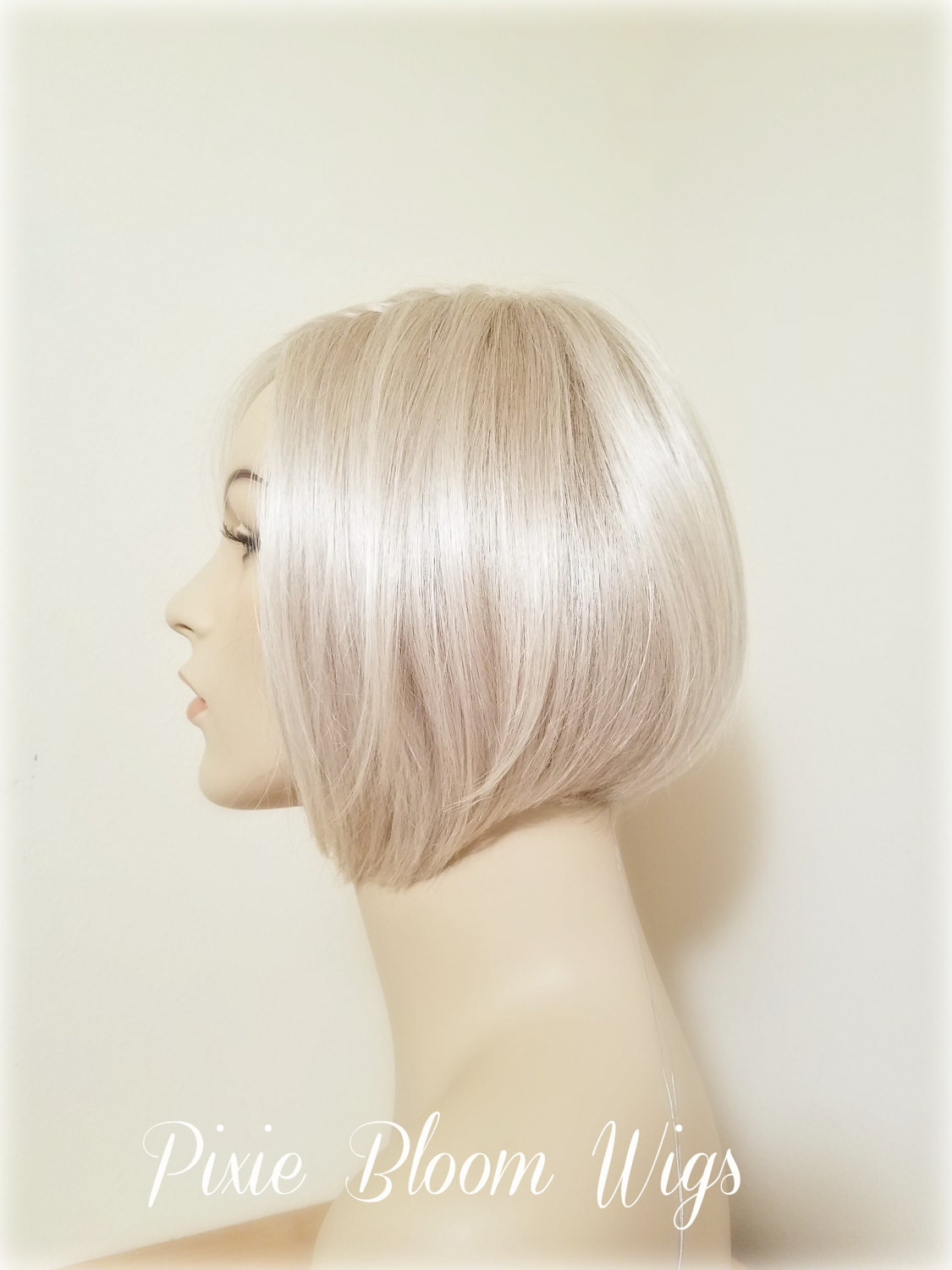 Platinum Blonde Lace Part Wig Angled Bob Wig Monofilament