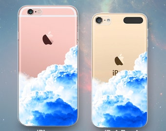 Clouds Thunderclouds Stormy Sky Rain Cloud Blue Day Dream Awesome Cool Funny Clear Rubber Case for iPhone 7 6s 6 Plus SE 5s 5 5c iPod Touch