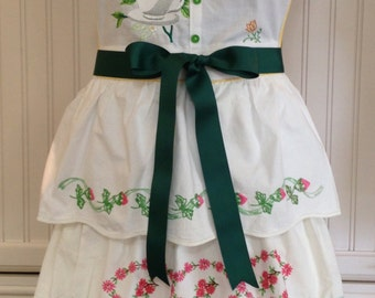 Vintage full apron shabby chic crocheted embroidered pillowcase  green teacup embroidered bodice