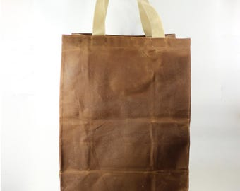Reusable Grocery Tote - Waxed Canvas - Market Tote - Hostess Gift - Book Bag - Beach Tote - Zero Waste - Waterproof - Durable and Versatile