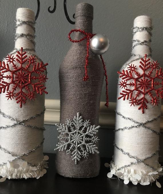Items Similar To Christmas Holidays Wine Bottle Decor
