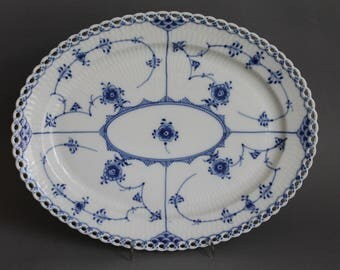 Royal Copenhagen Blue Fluted Full Lace Oval Platter # 1147