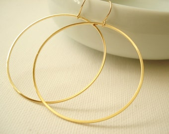 14 kt. Gold-filled french ear wire with gold plated Circle earrings, Simple earrings, long drop earrings, bridesmaid gift, Gift for her