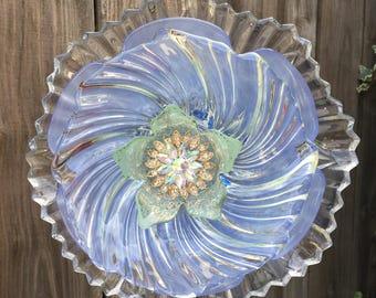 """Plate flower, Vintage Glass, Garden Decor """"Glass Slipper"""""""