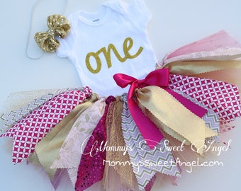 Fabric tutu birthday outfit. Pink, white, gold tutu outfit. Personalized tutu outfit. Cake smash tutu. 1st Birthday tutu outfit.