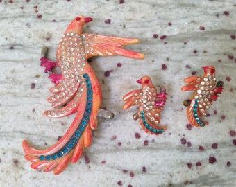 Antique Bakelite Era Celluloid Bird Pin Set