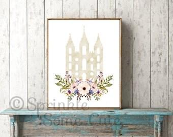 Salt Lake City Utah Temple, LDS Temple, LDS Art, Watercolor Flowers, SLC, Printable, Digital Download