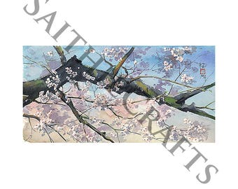 Cherry Blossoms Above You - A4 Japanese Watercolour Print - Original by Yuko Sekiguchi A07