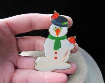 Vintage Christmas Large Enameled Snowman Pin