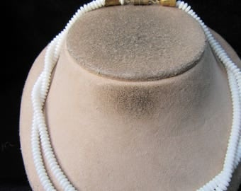 Vintage Double Stranded White Glass Beaded Necklace