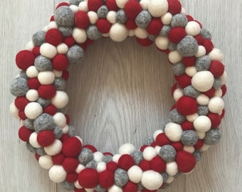 Stone and co christmas felt ball pom pom wreath
