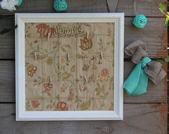 Shabby chick Framed memo board, White vintage frame memo or pictures board