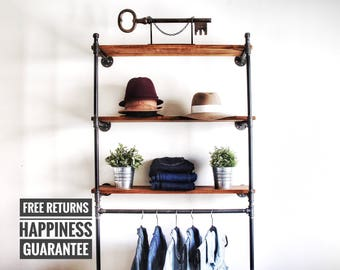 Industrial pipe wall mounted clothing rack shelf ⋆ wall shelving unit ⋆ Wall clothing rack ⋆ Industrial hanger ⋆ retail display rack ⋆