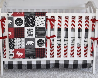 Mountain Adventure Bedding, crib bedding, toddler quilt, modern nursery, red and black, buffalo print, crib skirt, crib sheet, crib bumpers