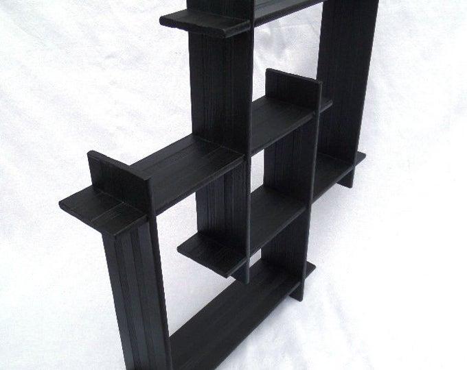 "Shadow Box Shelf, Original 1950's Geometric Wooden Wall Shelves, Upcycled with Black Paint, Matt Finish, Ready to Hang 20.5"" x 20.5"" x 3.25"""