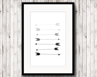 Black Arrow Print, Minimalist print, Black and White Arrow, Abstract Poster, Printable Arrow, Abstract Painting, Modern print, Scandinavian