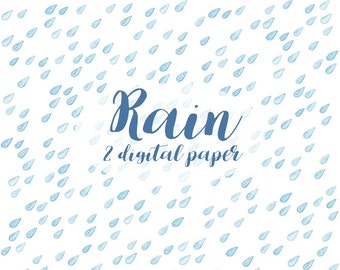Buy 3 for 9 USD - Digital Watercolor Background Clipart Rain Raindrops PNG, JPG