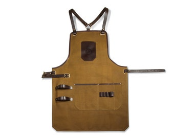 SALE 10%! Gift for him / Work apron / Waxed canvas and leather apron / camel apron / Mens apron / Mens gift / Barista apron / Christmas gift