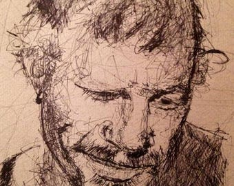 HEATH LEDGER: drawing, pen and ink, 8x10 print, scribble, black & white