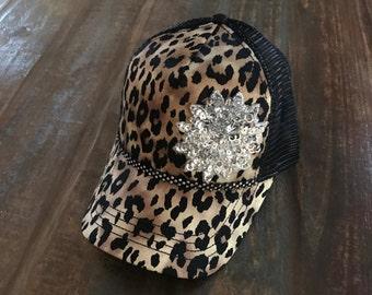 Trucker Hats, Embellishment Hats, Cotton Hats, Bling Hats, Black Hats, Animal Print Caps, Leopard Print Trucker Hat, Two tone Hats