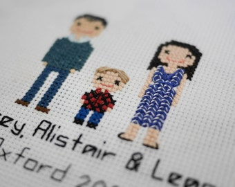 3 Person (plus pets) family Cross-stitch embroidered Portrait  (framed)