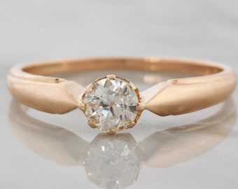 Vintage Diamond Rose Gold Solitaire Engagement Ring | Isla