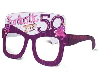 50th Birthday Card Glasses for her. Birthday card for her. Funny birthday card. Milestone birthday. Fun birthday card. Free UK delivery.