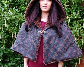 Waterproof Cloak. TARTAN oilskin and chocolate faux fur, fashion, LOTR, wedding cloak renaissance cape, poncho, winter coat, fantasy